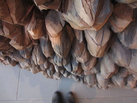 boots with Ursula Von Rydingsvards' work